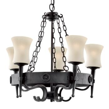 Cartwheel Ceiling Light - 5 Light 0815-5BK - Matt Black Finish