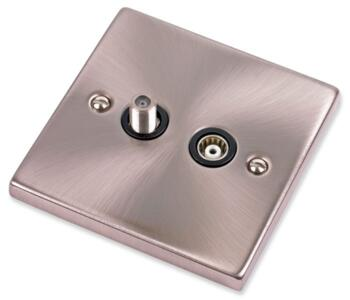 Satin Chrome Satellite & TV Socket - Co-ax Outlet - With Black Interior