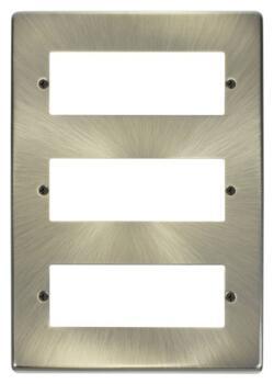 18 Gang 3 Tier Mini Grid Module Cover Plate - Antique Brass