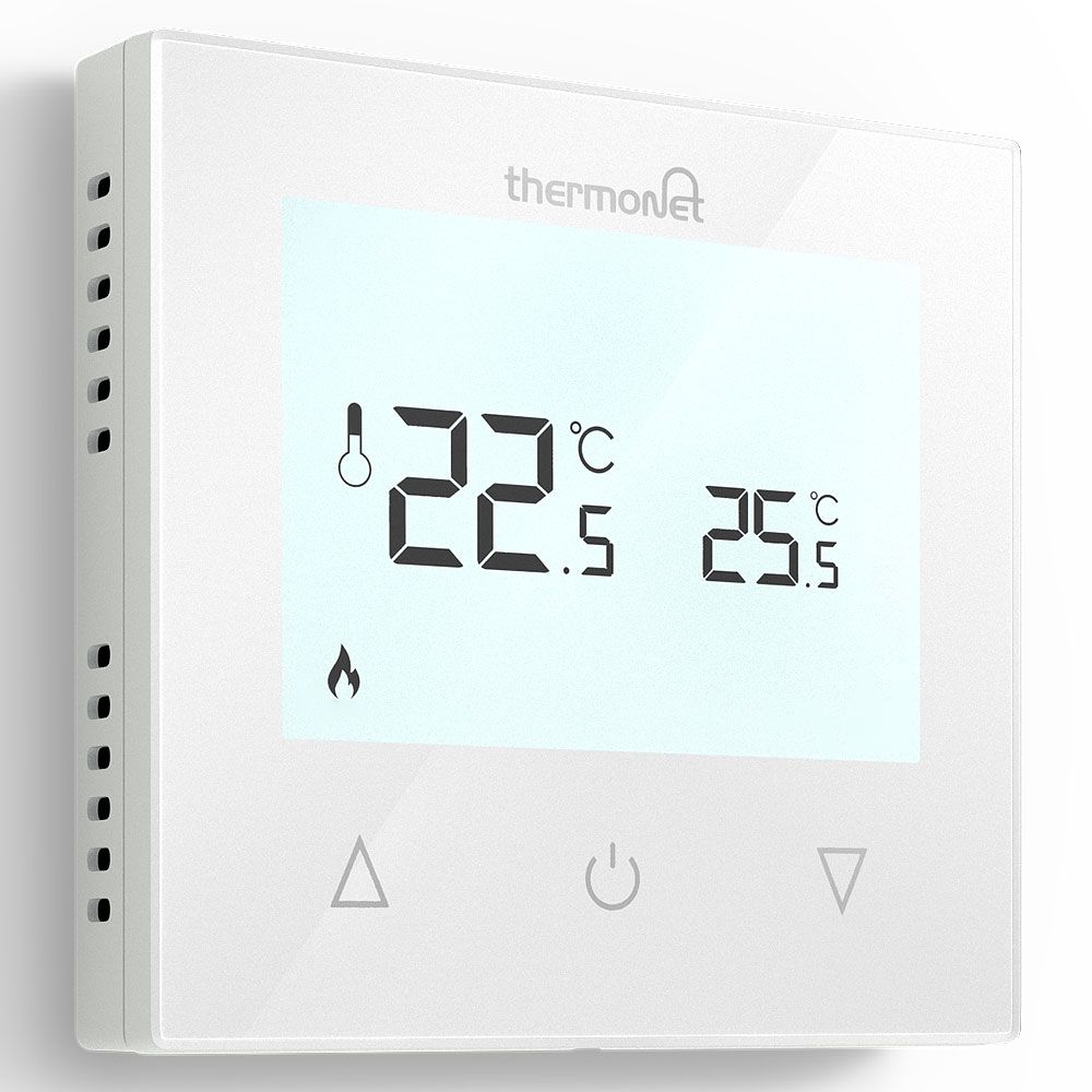 white maual digital underfloor heating thermostat