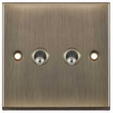 Slimline Antique Brass Toggle Switch