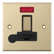 Slimline 13A Switch Fused Spur-Neon/Flex-Sat Brass