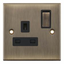 Slimline 13A Single Switched Socket -Antique Brass - With Black Interior