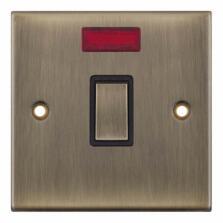 Slimline Antique Brass 20A DP Switch  - With Neon