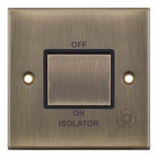 Slimline Fan Isolator Switch - Antique Brass - With Black Interior