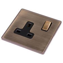 Screwless Antique Brass Single Socket