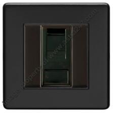 Screwless Matt Black RJ45 Data Socket - Metal