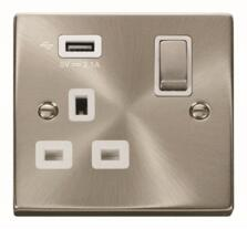 Satin Chrome Double Socket With USB Charger