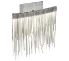 Memphis LED Wall Light, Satin Silver Finish With Chain Link Waterfall Dressing