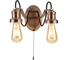 Olivia 2 Light Antique Copper Double Wall Light With Black Braided Fabric Cable