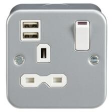 Metal Clad 13A 1G Switched Socket with Dual USB Charger IP20 (2.4A) MR9124