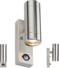 230V IP44 2 X GU10 Stainless Steel Up/Down Wall Light with Pir WALL4LSS