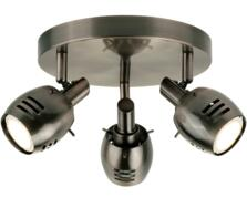 Trojan 3 Light Spotlight Ceiling Light Antique Silver Finish