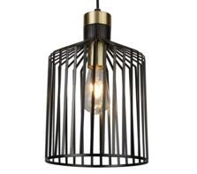 Bird Cage 1 Light Pendant Ceiling Light  Black & Satin Brass Finish Cage