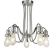 Olivia 5 Light Ceiling Light  Chrome Finish With Black Braided Fabric Cable