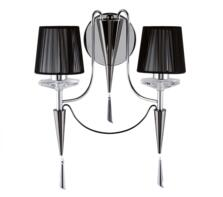 Wall 2 Light Chrome And Black Finish With Crystal Sconces