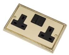 Georgian Brass Double Socket -2 Gang Twin Switched