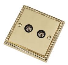 Georgian Brass Double TV Socket -Twin Co-ax Outlet
