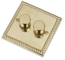 Georgian Brass Dimmer Switch - Double 2 Gang Twin - 400W Tungsten/Halogen