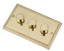 Georgian Brass Dimmer Switch - Triple 3 Gang 2 Way - Georgian Brass