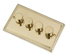 Georgian Brass Dimmer Switch - Quad 4 Gang 2 Way