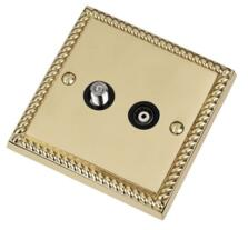 Georgian Brass Satellite & TV Socket -Co-ax Outlet - With Black Interior