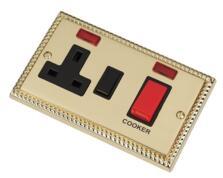 Georgian Brass Cooker Switch & Socket 45A DP Neon
