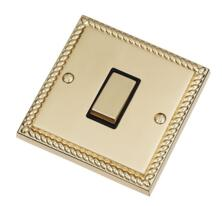 Georgian Brass Light Switch - Single 1 Gang 2 Way