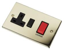 Polished Brass Cooker Switch with Socket 45A DP - With Black Interior