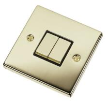 Polished Brass Light Switch - Double 2 Gang Twin