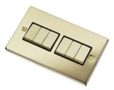 Polished Brass Light Switch - 6 Gang 2 Way