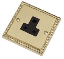 Georgian Brass Single Round Pin Socket - 5A 1 Gang