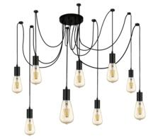 9 Light Vintage Pendant Light Black Finish