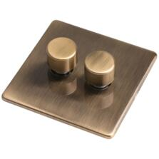 Screwless Antique Brass LED Empty Dimmer