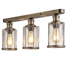 3 Light Flush Ceiling Light Antique Brass & Seeded Glass