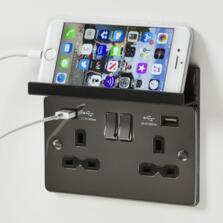 Black Nickel Socket With USB Charger - Foldaway Phone Holder