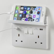 White Foldaway Phone Holder For USB Sockets