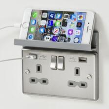 Grey Foldaway Phone Holder For USB Sockets
