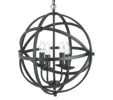 Vintage 4 Light Metal Cage Pendant BK