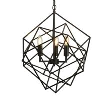 Matt Black 3 Light Cage Pendant