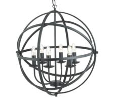 Matt Black 6 Light Cage Pendant