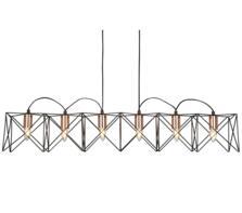 Matt Black 6 Light Frame Pendant With Copper