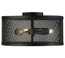 Fishnet Matt Black 3 Light Cage Flush Ceiling Fitting