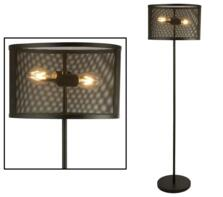 Fishnet Matt Black Cage 2 Light Floor Lamp