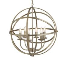Antique Brass Cage 6 Light Pendant