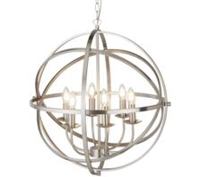 Satin Silver Cage 6 Light Pendant