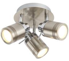Satin Silver 3 Light Bathroom Plate Spotlight