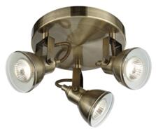 Antique Brass 3 Light Plate Spotlight