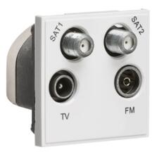 Quadplexed SAT1/SAT2/TV/FM DAB Outlet Module