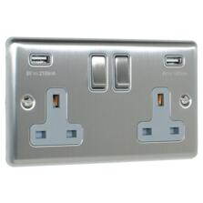 Satin Stainless Steel & Grey Socket With USB Charger